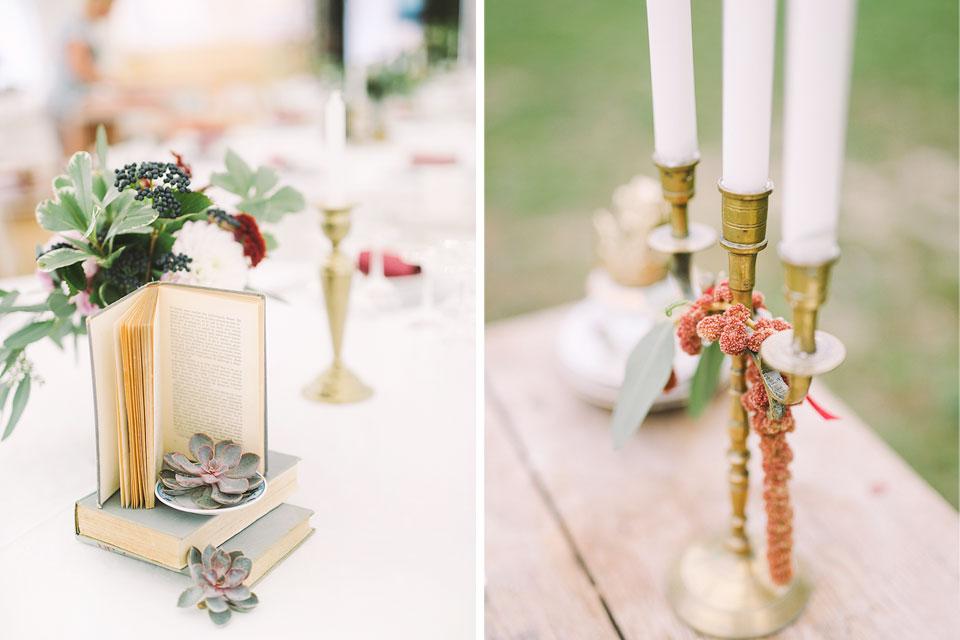 miza dekorirana s knjigami in cvetjem