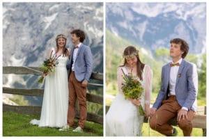 Ženin in nevesta s šopkom iz travniškega cvetja v objemu gora