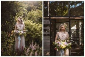Nevesta z divjim poročnim šopkom iz potonik v cvetočem vrtu